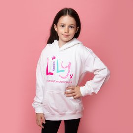 Children's White Hoodie with Colour Logo