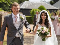 Sophie Carr, who has mitochondrial disease, and husband Jamie on their wedding day